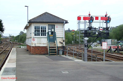 Par signalbox and semaphores at the Penzance end of the up platform; the Newquay line is on the right. 8th May 2010.