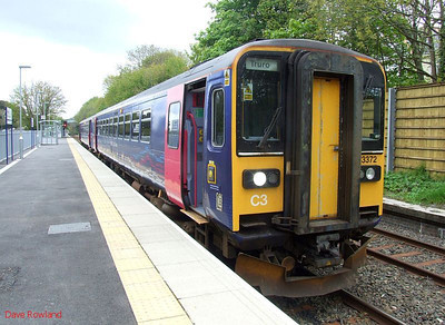A passing loop has recently been installed at Penryn, where FGW 153 372 & 153 329 are seen with the 10.50 Falmouth Docks-Truro; the train waits for the down service to arrive before continuing to Truro. 8th May 2010.