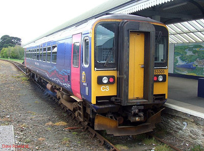 FGW 153 305 is seen shortly after arrival at Falmouth Docks with the 09.50 service from Truro. 8th May 2010.