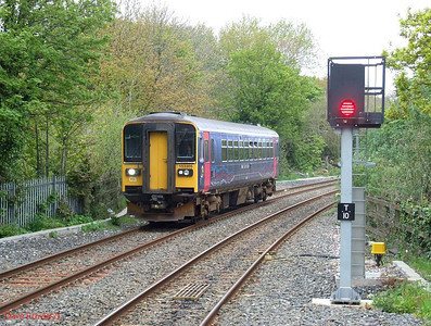FGW runs into Penryn with the 10.50 Falmouth Docks-Truro service on 8th May 2010.