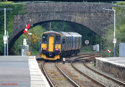 A parting view of FGW 153 380 & 150 261 as they leave Par with the 07.35 Penzance-Plymouth stopping service on 8th May 2010.
