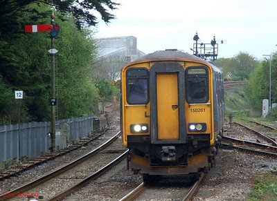 FGW 150 261 (with 153 380 at the rear) runs into Par with the 07.35 Penzance-Plymouth stopping service on 8th May 2010.