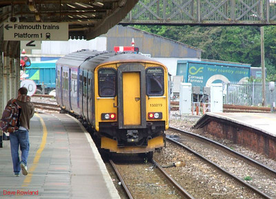 FGW 150 219 departs from Truro at 09.38 with the 06.22 Plymouth-Penzance stopping service on 8th May 2010.