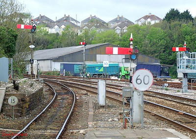 Semaphore signals still happily rule in Cornwall; these four are at the Penzance end of Truro station. 8th May 2010.
