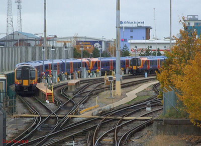 A view of the stabling sidings at Fratton CSD, with SWT 450 099, 450 117 and 450 108 present. 3rd November 2010.