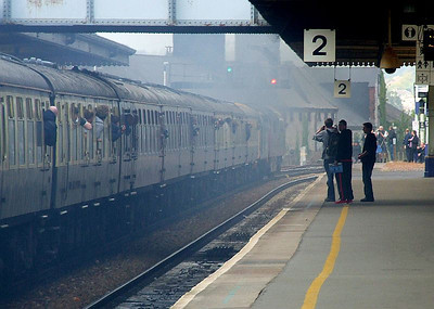 """Newton Abbot station is largely obscured by exhaust fumes as D1015 """"Western Champion"""" & 40145 pass through with 1Z52, the Penzance-Crewe return working of 'The East Lancashire Champion' 2-day railtour on 16th May 2010."""
