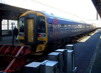 FGW 158 958 waits to depart from Portsmouth Harbour with 1F26, the 15.22 service to Cardiff Central. 30th January 2010.