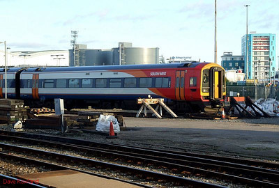 A platform-level view of SWT 159 102, one of two of the class stabled at Fratton freight terminal on 30th January 2010.