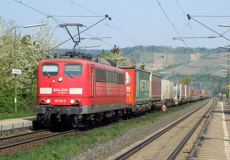 Railion 151 141 passes Himmelstadt with a southbound freight on 20th April 2011.