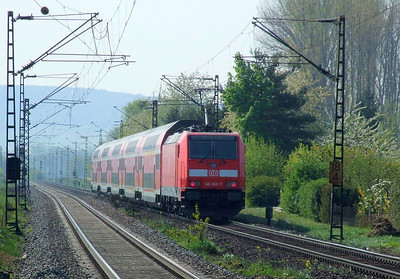 DB 146 240 propels a southbound passenger train past Himmelstadt on 20th April 2011. Unlike most local workings with Class 111, which are top & tailed (usually), the Class 246 locos work alone, with a driving trailer at the opposite end.