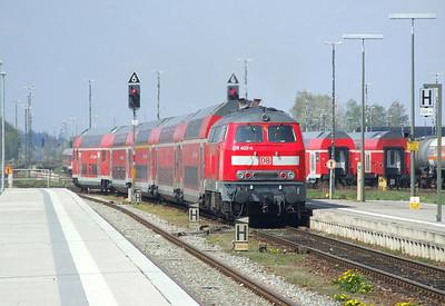 DB 218 403, Mühldorf (Oberbay), 16th April 2011.