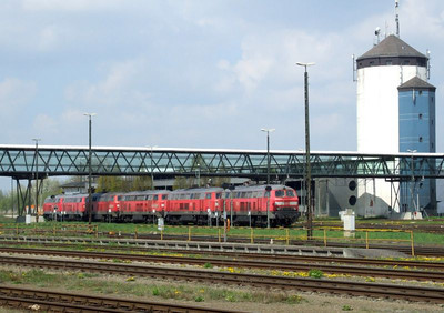 Class 217s at Mühldorf depot, 16th April 2011.
