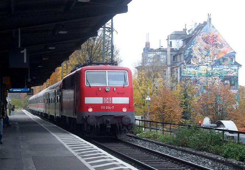DB 111 014 at Köln West, 13th November 2012.