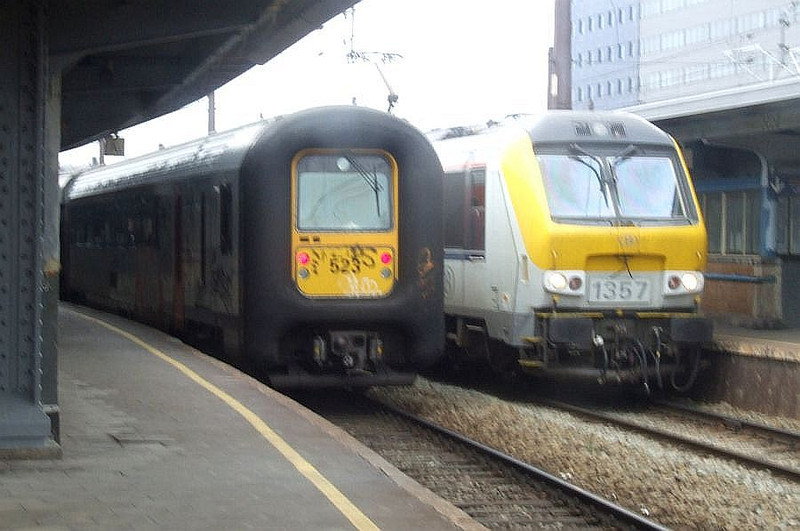 SNCB EMU 523, and 1357 at Brussel Zuid, 12th November 2012.