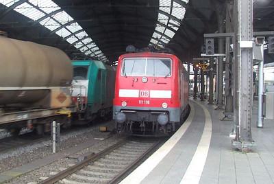 DB 111 116, SNCB 2837 at Aachen Hbf, 15th November 2012.