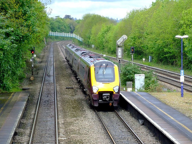 An unidentified XC Class 221 Super Voyager 5-car DEMU runs through Tilehurst on the up fast on 15th May 2012.