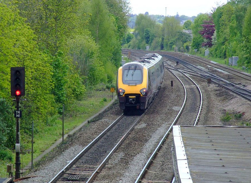An unidentified XC Voyager passes Tilehurst on the up relief on 15th May 2012.