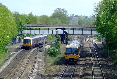 FGW 166 204, with 165 125 + 166 210 at the station, Tilehurst. 15th May 2012.