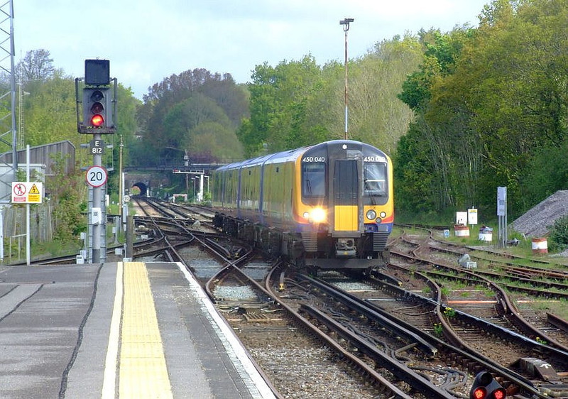 SWT 450 040 arrives at Fareham with a Portsmouth service on 15th May 2012.