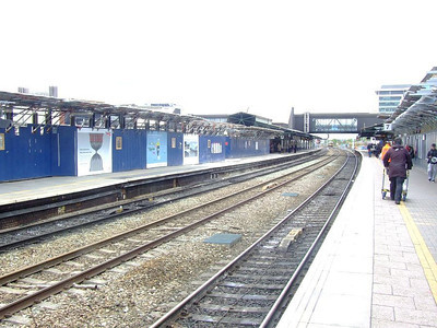 View east from Platform 4 at the building site which is Reading station on 15th May 2012.