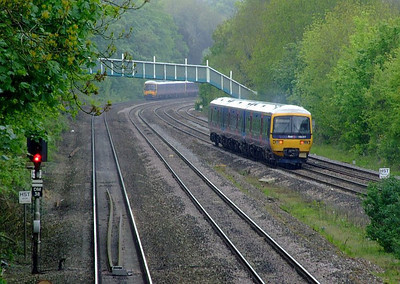 FGW 166 217, with 166 210 + 165 127 in the distance, Tilehurst. 15th May 2012.
