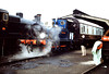 """SECR P Class 0-6-0T 323 """"Bluebell (BR 31323) at Sheffield Park shed. 25th August 1991."""