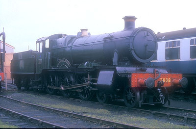"""7800/'Manor' Class 4-6-0 7808 """"Cookham Manor"""" at Didcot GWS on 16th July 1988."""