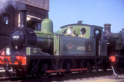 "Ex-LNER J72 Class 0-6-0T 69023 ""Joem"" at Didcot GWS on 27th May 1989."