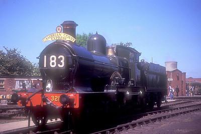 "'Dukedog' 4-4-0 3217 ""Earl of Berkeley"" (ex-9017) at Didcot GWS on 27th May 1989."