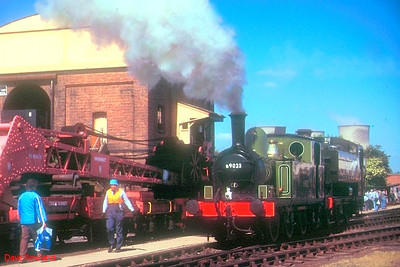 """Ex-LNER J72 Class 0-6-0T 69023 """"Joem"""" is seen near the coaling stage at the GWS Didcot MPD on 27th May 1989."""