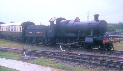 """4300 Class 2-6-0 5322 is seen at Didcot GWS with GWR saloon 9118 """"Queen Elizabeth"""". 16th July 1988."""