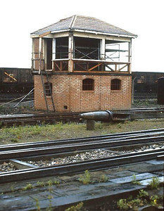 Signalbox in the process of reconstruction at Didcot GWS on 16th July 1988.