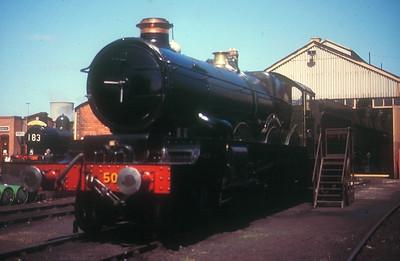 "'Castle' Class 4-6-0 5051 ""Drysllwyn Castle""/""Earl Bathurst"" at Didcot GWS on 27th May 1989."