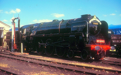 """BR Standard Class 8P Pacific 71000 """"Duke of Gloucester"""" at Didcot GWS on 27th May 1989."""