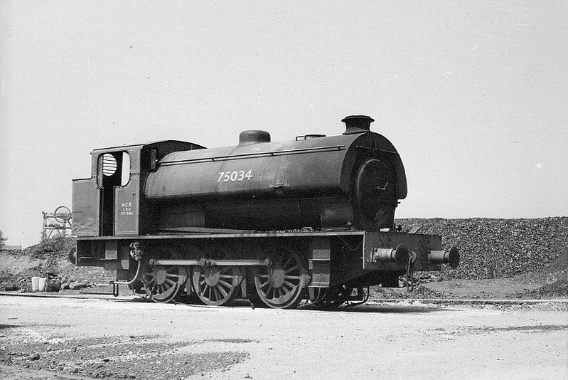 75034 - Austerity 0-6-0ST - built 1943 by Hunslet Engine Co., Works No.2883 - sold to NCB Westhorpe Colliery, Derbyshire - seen here after sale to NCB but still wearing WD number.