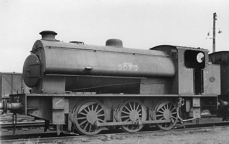 75070 - Austerity 0-6-0ST - built 1943 by Robert Stephenson & Hawthorn Ltd., Works No.7106 -seen here at Central Armaments Depot, Kineton, 1946.