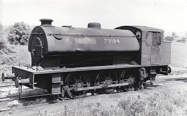 75194 - WD 'Austerity' Class 0-6-0ST - built 1944 by Robert Stephenson & Hawthorn Ltd, Works No.7144, as WD No.75194 - sold to NCB - seen here still wearing WD number.
