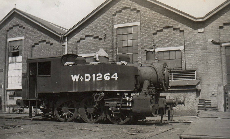 1264 - Class 'USA' 0-6-0T - built 1942 by HK Porter Corpn. - 1946 to SR No.61, 05/51 to BR No.30061 - 10/62 withdrawn from 70I Southampton Docks - seen here at Eastleigh Works during commissioning.<br /> 382 of these small but powerful tank engines were built by 3 US engine builders from 1942 and ended up all over postwar Europe, many still in service until quite recently. Around 20 were also sent to China.