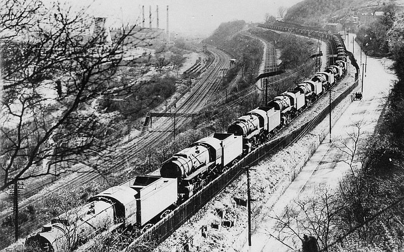 US-built Class S160 2-8-0's stored on disused colliery lines at Treforest during World War 2.