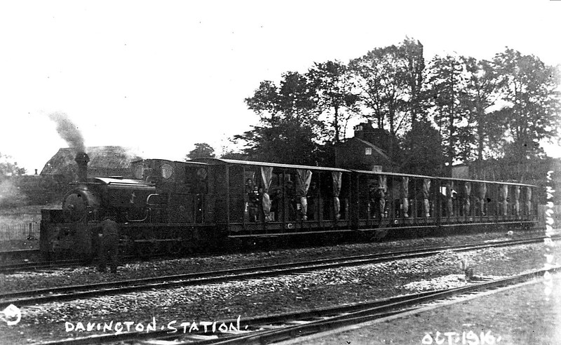 DAVINGTON LIGHT RAILWAY - No.1 - 0-6-0ST - metre gauge - built 1916 by Manning Wardle & Co., Works No.1914 - sold on closure of railway, exported to Brazil - seen here at Davington Station, 10/16.<br /> The Davington Light Railway was a metre gauge railway built to serve the armaments factories near Davington, in Kent. It ran for 3 miles to transport workers from Davington, near Faversham, to the factories of the Cotton Powder Company and the Explosives Loading Company, located between Uplees and Harty Ferry. The carriages were all open sided, with curtains to keep the weather out. Separate trains were provided for men and women, on account of the coarse language the men used. The line operated 3 identical Manning Wardle 0-6-0ST's, Works Nos. 1914/5/6 plus a number of petrol tractors. Freight was also carried, including acid, coal, cotton, detonators, mines and shells. Four wagons from the railway were purchased by Colonel Stephens for use on the Rye and Camber Tramway. The line closed at the end of World War I, and the line and its equipment were sold by auction.