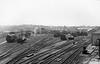 LONGMOOR - A view of the yard at Longmoor showing the loco depot and various workshops in 1966, just before closure.