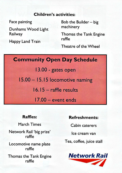 (117) - Page 3 of the 4 page information booklet put out by Network Rail for the Whitemoor Open Day on May 25th, 2004.