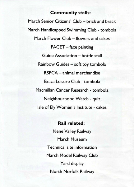 (116) - Page 2 of the 4 page information booklet put out by Network Rail for the Whitemoor Open Day on May 25th, 2004.