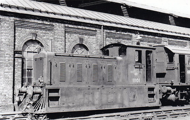 Class 04 - 11101 - Drewry 0-6-0DM Shunter - built 1952 by Drewry Car Co. - 1957 to D2201 - withdrawn 04/68 from Crewe Works - seen here at March MPD 'booted and suited' for operations on the Wisbech & Upwell Tramway.