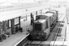 Class 04 - 11101 - Drewry 0-6-0DM Shunter - built 1952 by Drewry Car Co. - 1957 to D2201 - withdrawn 04/68 from Crewe Works - seen here at Wisbech East in full skirts on July 9th, 1955, on a brakevan rail tour of the tramway from the Railway Club.