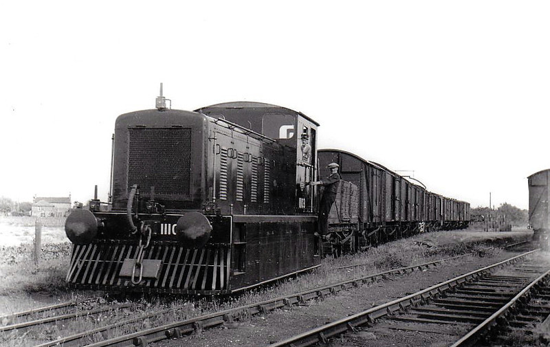Class 04 - 11103 - Drewry 0-6-0 DM Shunter - built 1952 by Drewry & Co.  - 1957 to D2203 - withdrawn 12/67 - preserved - seen here 'suited and booted' at Outwell Sidings on the Wibech & Upwell Tramway, 1952.