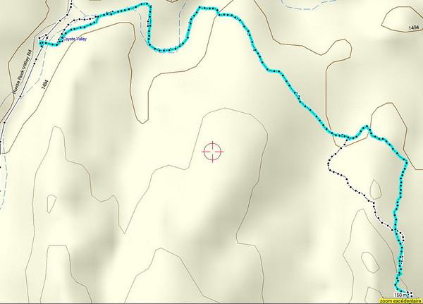 le relevé GPS, on a pas tout à fait randonné sur le même chemin à l'aller et au retour...