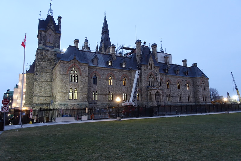 The West Block of the Parliament Buildings undergoing a facelift.