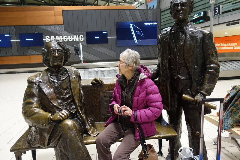 Before leaving the airport and heading over to our Bed and Breakfast, Sharon could not pass on the opportunity of offering up some sound advice to two Fathers of Confederation, John A Macdonald and George Cartier, but they appear to be pre-occupied.