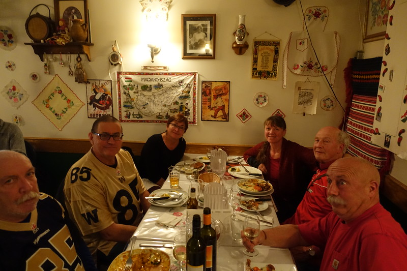 Mavis made advance reservations for us at Jonas, a Hungarian restaurant in downtown Calgary.  <br /> <br />   Around the table are Adrian, Miles and his wife Mavis, my friend Carol and I, and Carl.